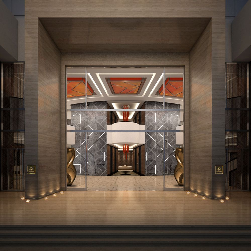 Hotel entrance boutique hotel sharjah designed by for Hotel entrance decor