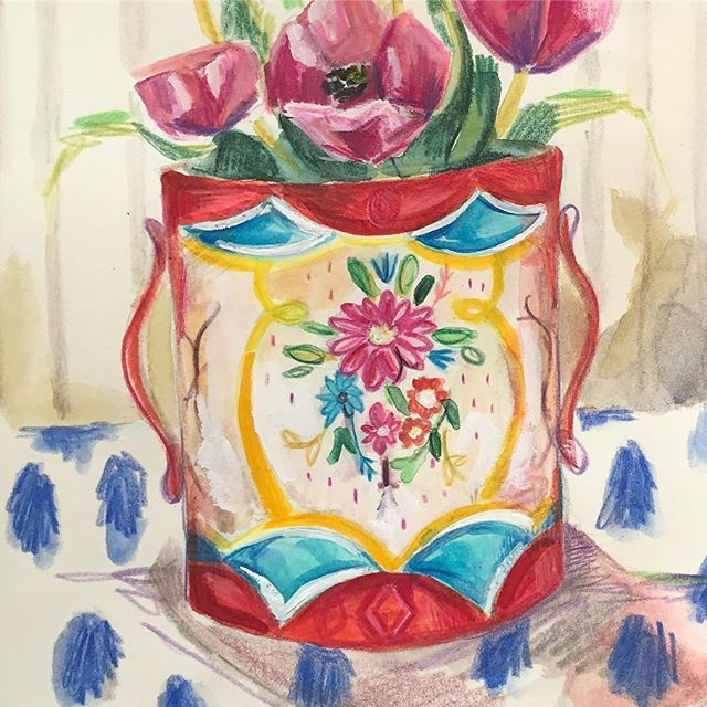 Looking forward to stitching this one up! #embroideryart #drawing #flowersinjars #paint #doitfortheprocess
