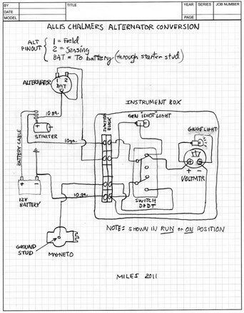 Allis Chalmers B alternator conversion schematic | Alternator, Diagram,  Trailer wiring diagramPinterest