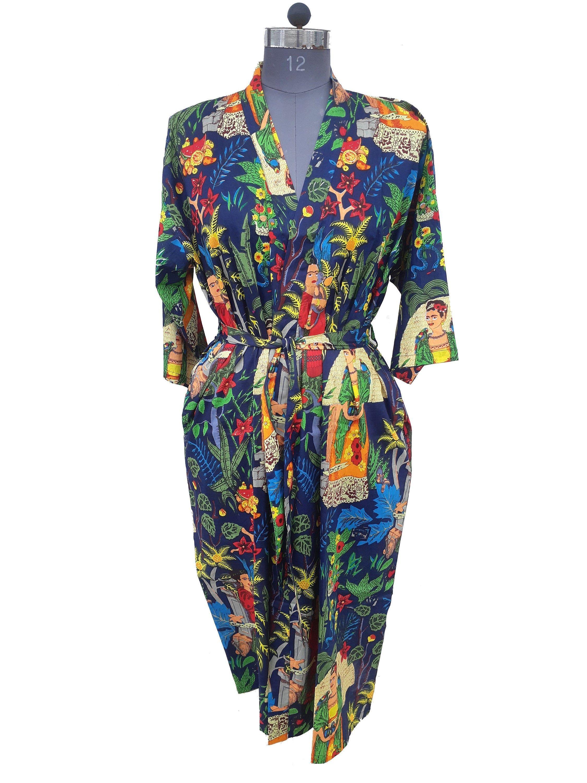Indian Hand Block Print Kimono Robe Long Kimono Dressing Gown Bathrobe Cotton Kimono Dress Beach Wrap Cover Up Kaftan For Women,Kimono