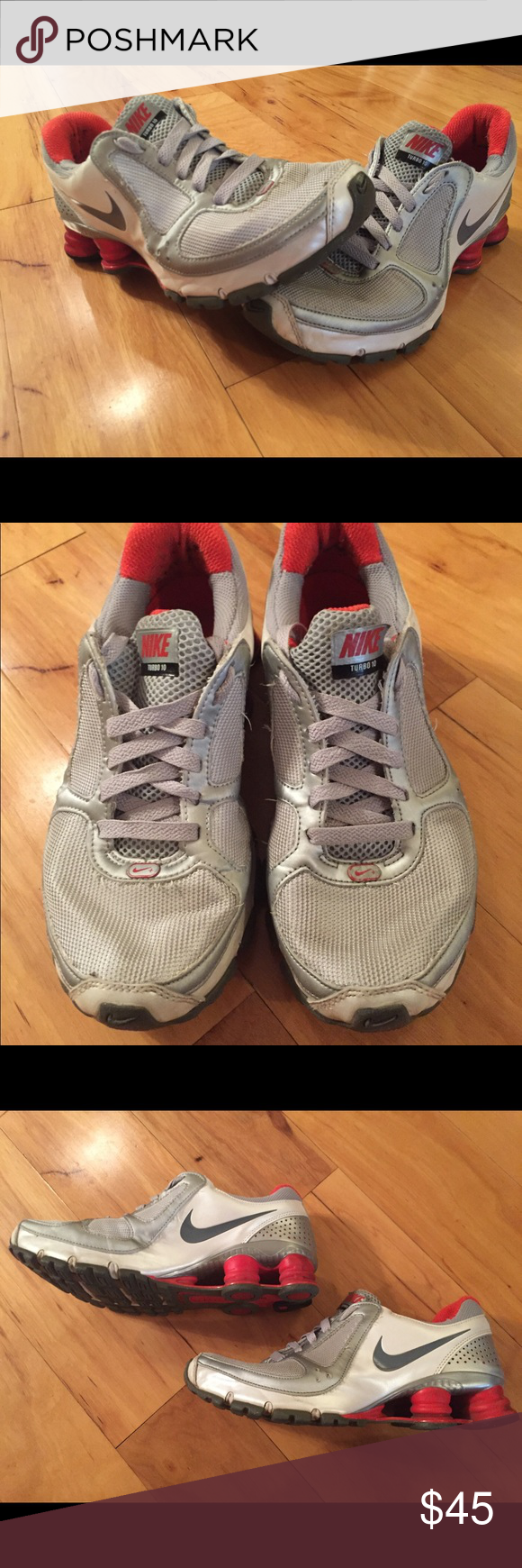 ee23472633ffb5 ... Womens Nike 605a16c Shox Turbo 10 Size 7.5 Silver Red Nike 385752-002  Excellent condition  Womens Nike 83026a7 Shox Turbo 10 Running Shoes ...