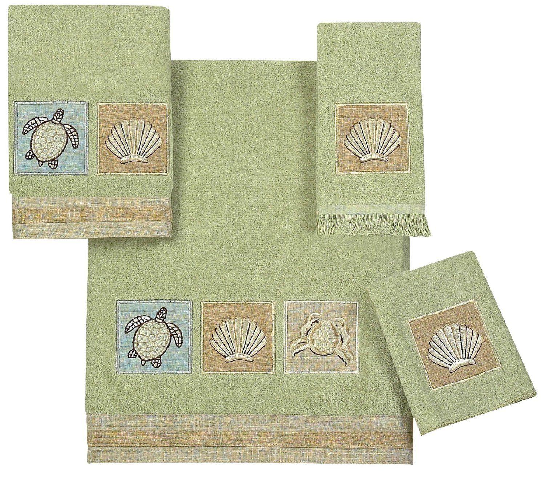 Avanti Sandpiper 4Piece Towel Set, Sage