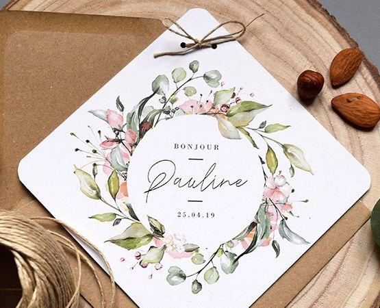 Faire-part fleurs, faire-part naissance Printemps |Pastilles et Petits Pois