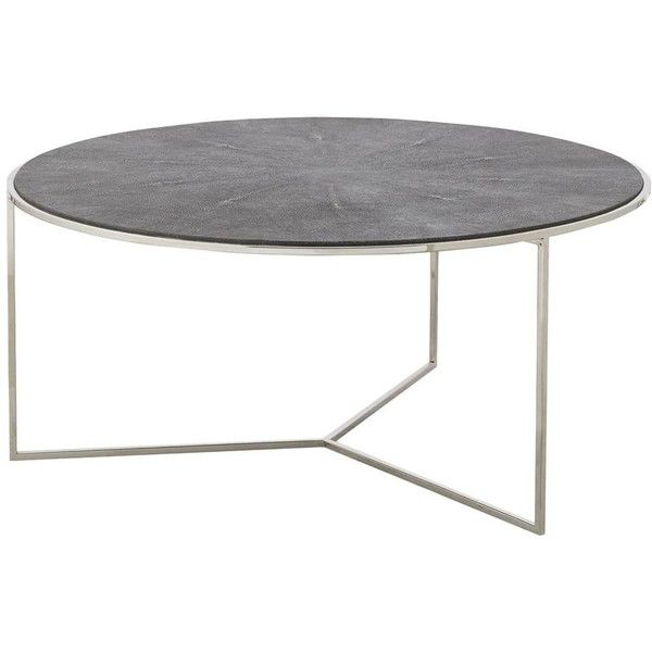 Farlane Regency Grey Shagreen Round Nickel Coffee Table ($1,498) ❤ liked on Polyvore featuring home, furniture, tables, accent tables, grey coffee table, grey furniture, gray table, lift-top coffee table and top table
