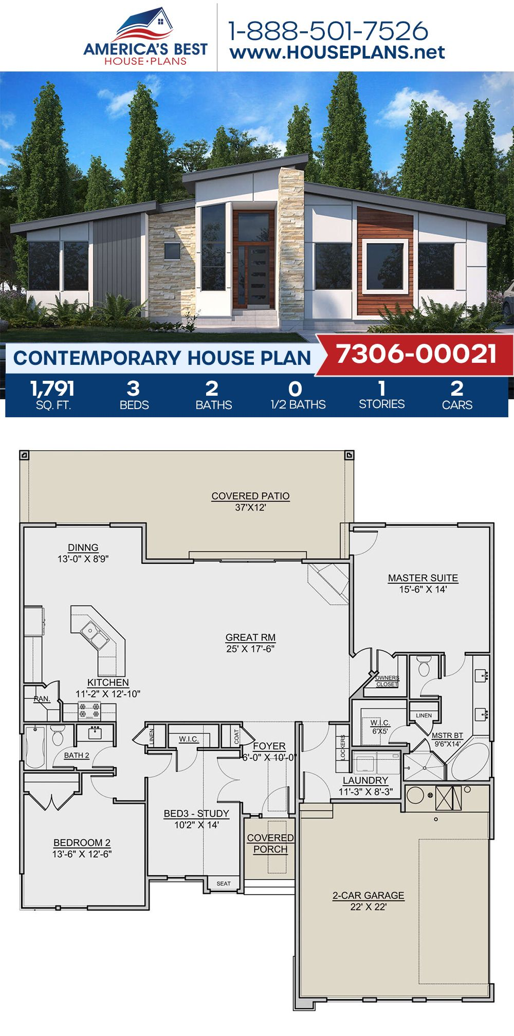 House Plan 7306 00021 Contemporary Plan 1 791 Square Feet 3 Bedrooms 2 Bathrooms House Plans Contemporary House Plans Dream House Plans