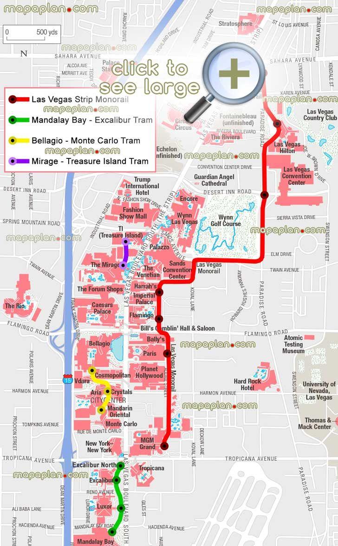 Monorail Stations Tram Stops Public Transportation Lines Mgm - Map of las vegas venetian