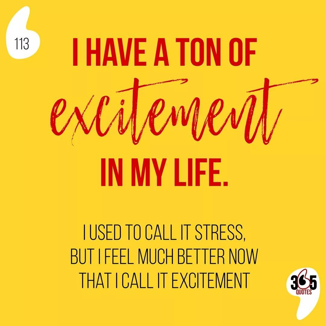 I Have A Ton Of Excitement In My Life I Used To Call It Stress But I Feel Much Better Now That I C In 2020 365 Quotes Funny Quotes Quotes