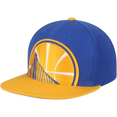 new concept b2b95 8d2cc ... amazon mens mitchell ness royal gold golden state warriors cropped xl  logo adjustable snapback hat cce1d