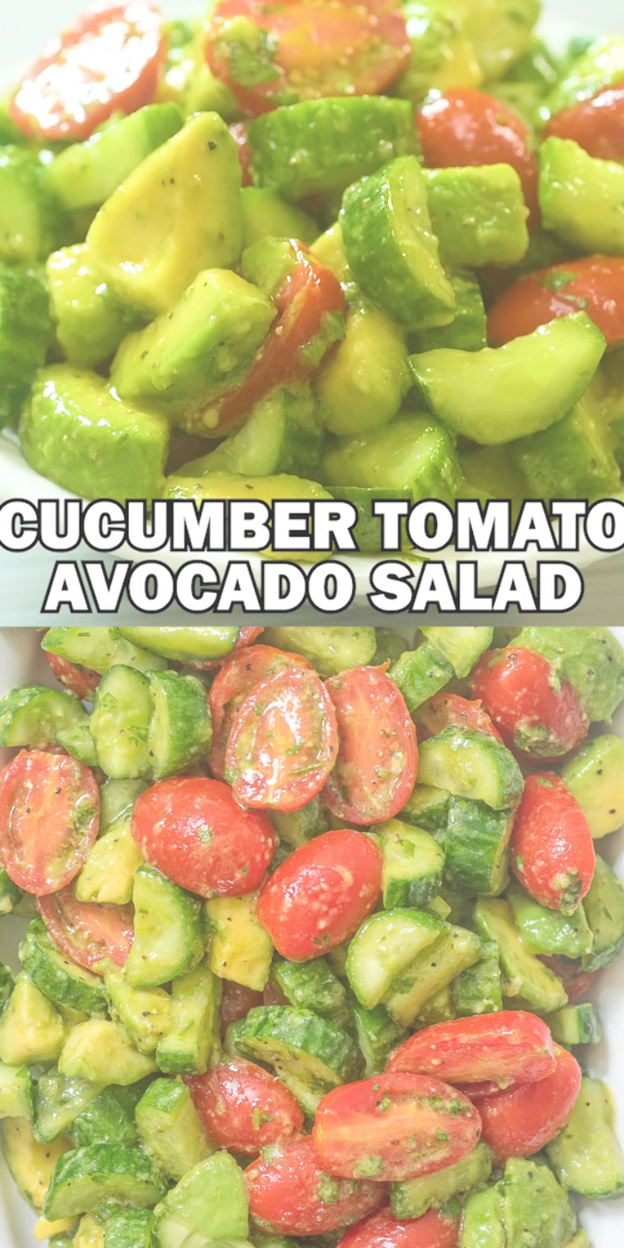 This Cucumber Tomato Avocado Salad is an easy, scrumptious summer salad. It's crunchy, fresh, and