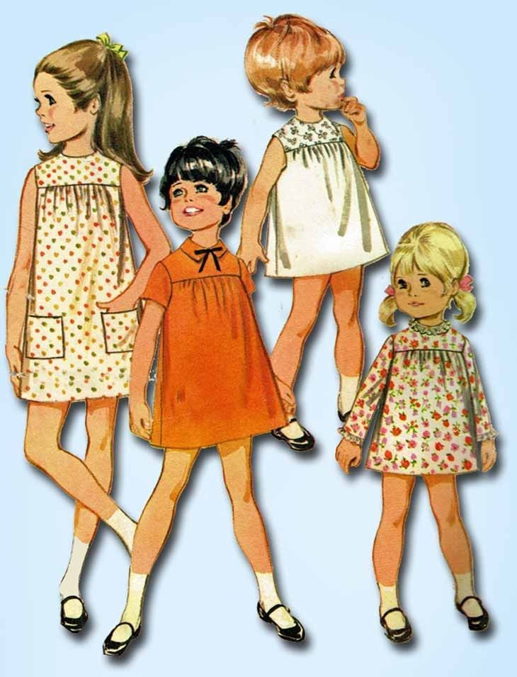 1960s Vintage McCalls Sewing Pattern 9249 Toddler Girls High Yoke ...