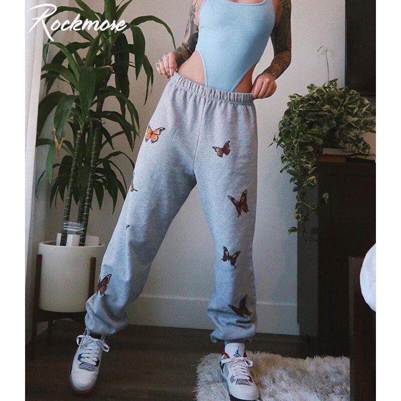 Pantalones De Chandal Rockmore De Talla Grande Para Mujer Con Estampado De Mariposas Pantalones De Lapiz Harajuku Pantalones Joggers De Cintura Alta Pantalon En 2020 Pantalones De Chandal Ropa De Calle
