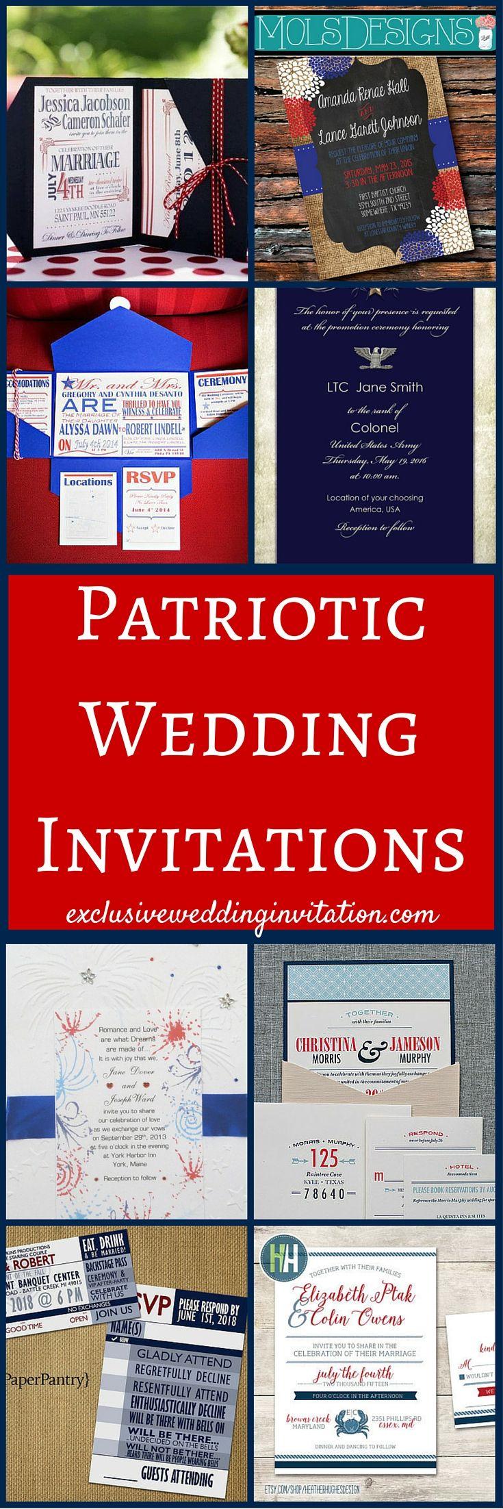 Patriotic Wedding Invitations | July wedding, Weddings and Vintage ...