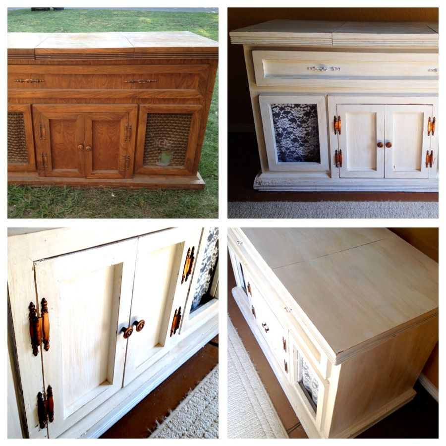 shabby chic entertainment cabinet from an old record player rh pinterest com