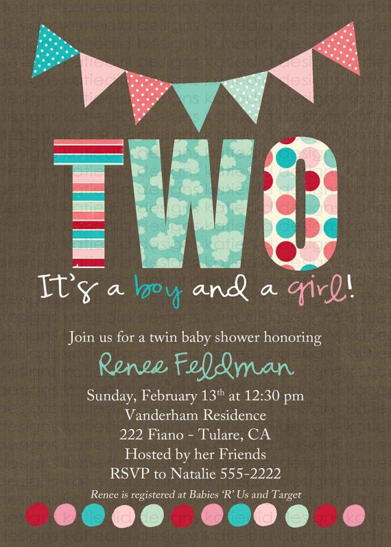 gender reveal invitation Twins baby shower pink or blue he she ...