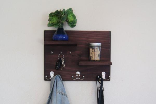 Floating Shelves With Coat And Key Hooks Hallway Wall Mounted Coat