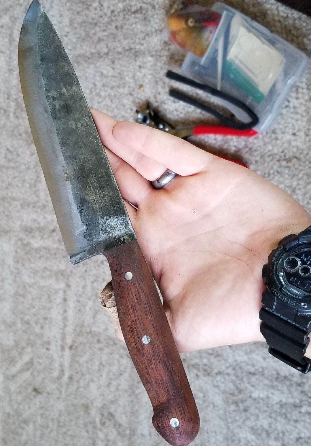 Lawnmower Blade Knife Mahogany Handle Knife Keep It Cleaner Blade