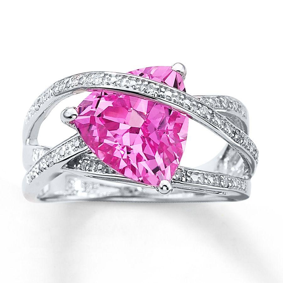 Très 925 Diamant Bague De Fiançailles En Argent Avec Saphir Rose  VO91