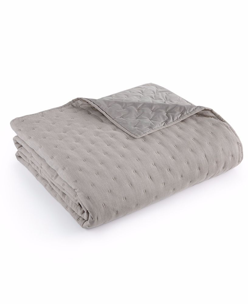 hotel collection eclipse heather grey quilted king coverlet 420