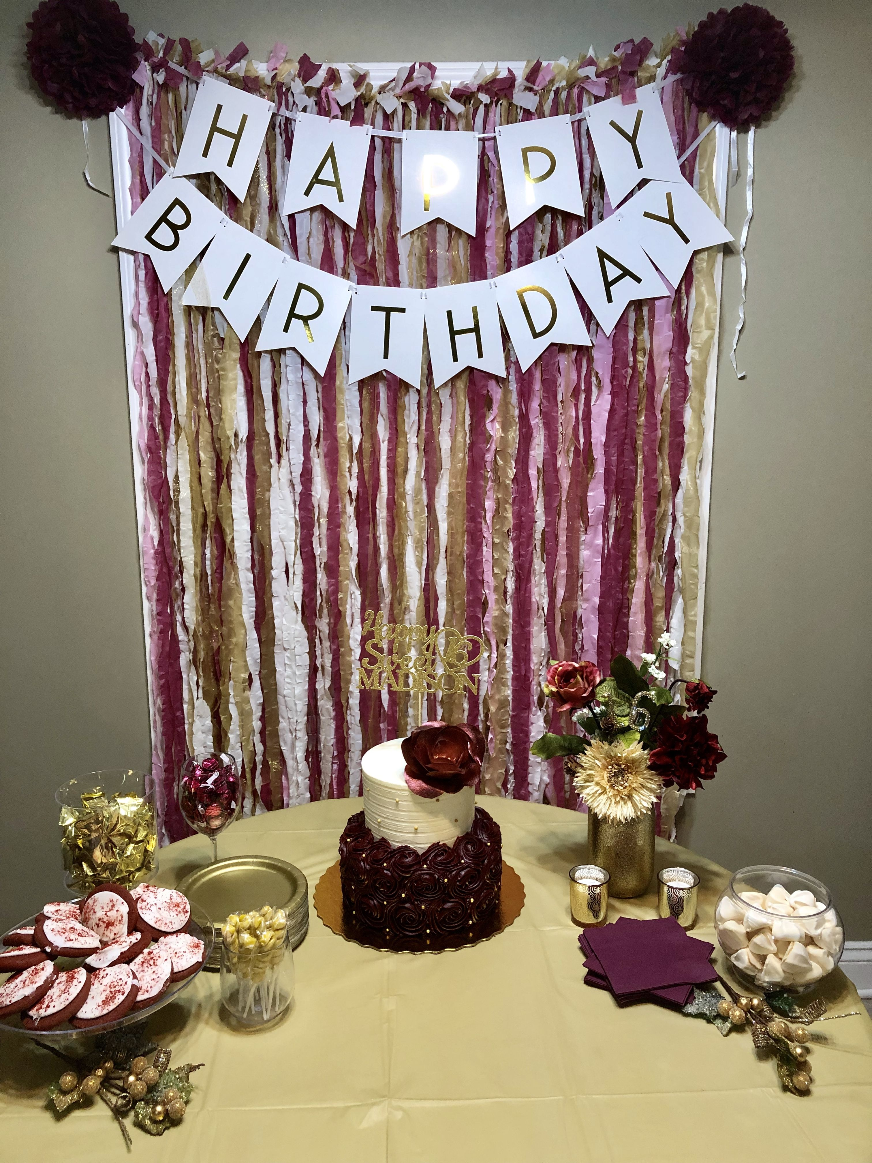 Burgundy And Gold Christmas Theme Sweet Sixteen Birthday Party