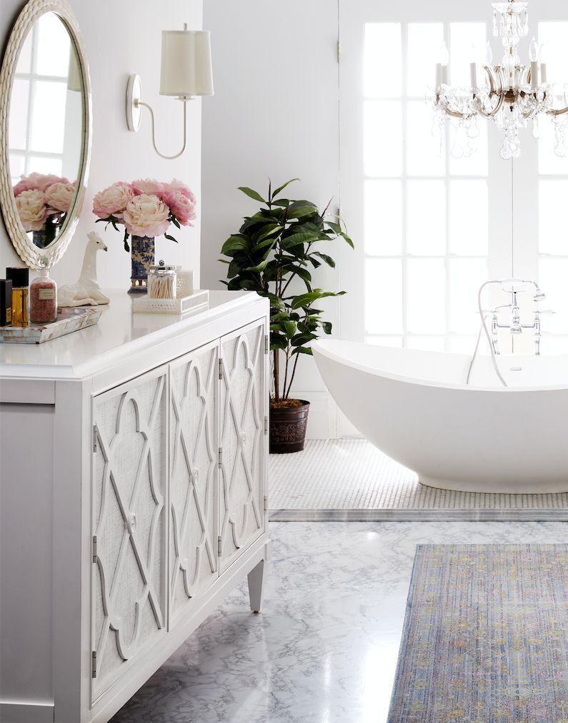 Love this romantic and feminine master bath