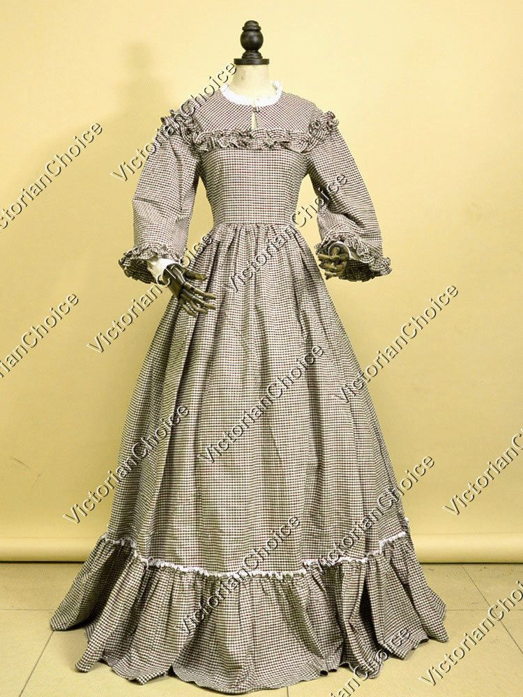Victorian Civil War Ball Gown Black Satin Formal Dress Reenactment Costume New