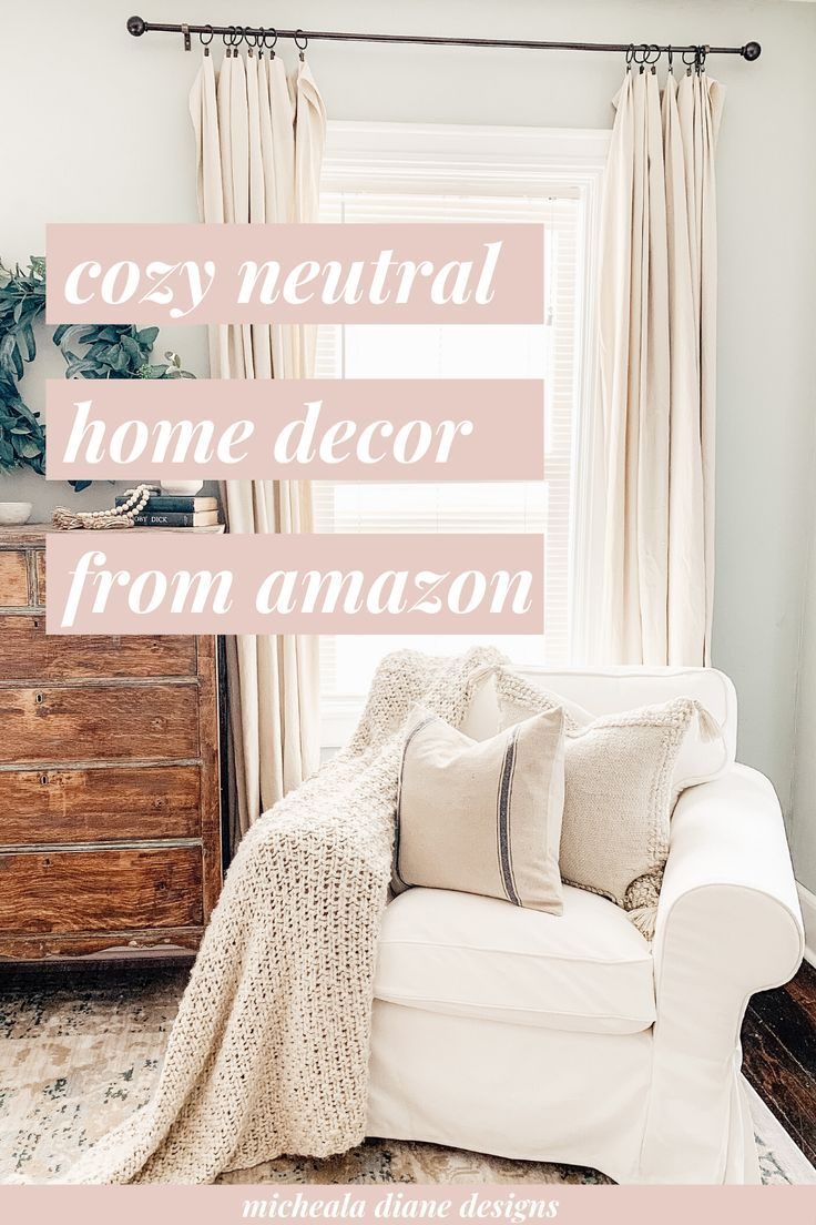 Cozy neutral home decor finds from Amazon. #cozydecor #neutraldecor #farmhousedecor