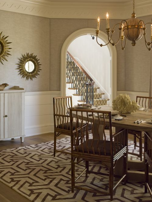 Phoebe Howard - linen wallpaper with trim around moulding
