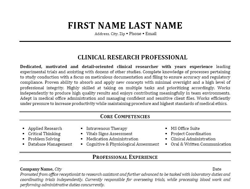 Click Here to Download this Clinical Research Professional Resume - resume for research assistant