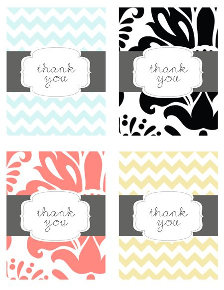 Free printable thank you cards. These are so cute! What a great way to say thanks! ~KL
