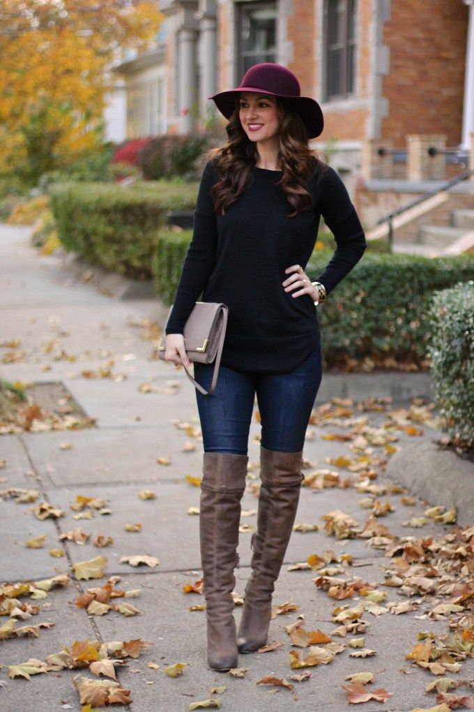 Burgundy Floppy Hat, Long Black Sweater, Taupe OTK Boots | Weekend ...