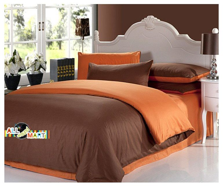 Free Shipping 4pcs Designer Cotton Contrast Color Bedding Set Comforter Bed Sheet Brown And Orange Simple Fashion Modern In S