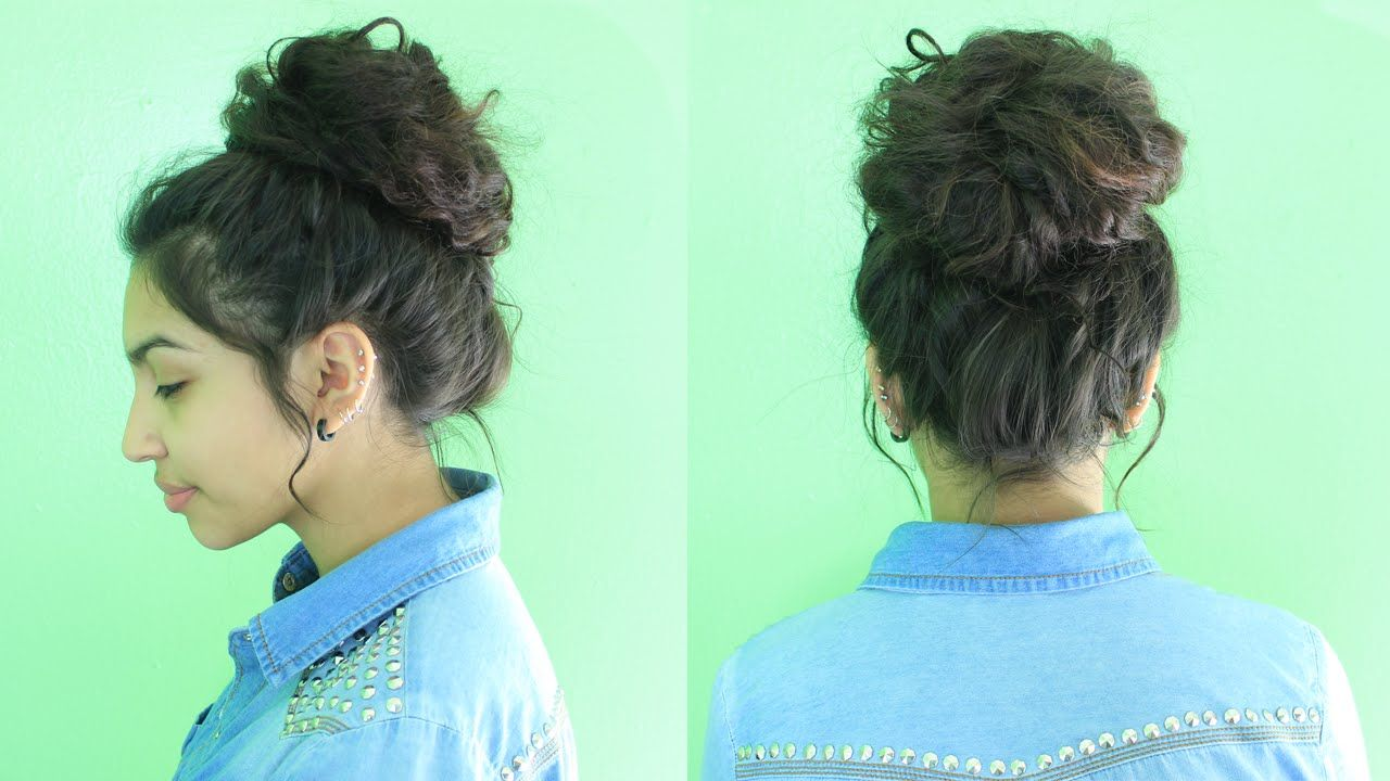 Easy Messy Bun Tutorial Curly Penny I Wear A Bun All The Time But It S Soo Boring This Tutoria Hair Bun Tutorial Curly Bun Hairstyles Messy Bun Curly Hair