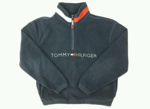 8e89546d3b245 Vintage Tommy Hilfiger Jacket 90s Pullover Spellout Flag Half-zip Navy  Fleece
