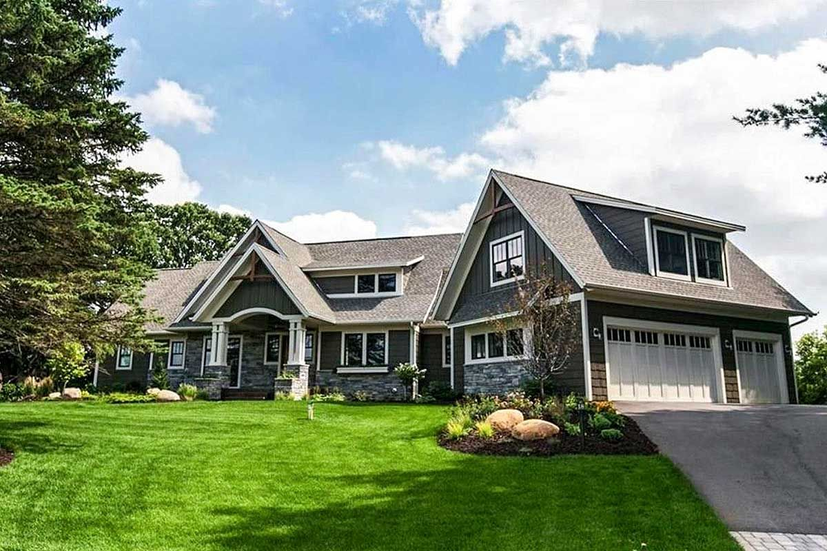 Plan 14622rk Shingled Showstopper With Angled Garage Craftsman House Plans Garage House Plans Architectural Design House Plans