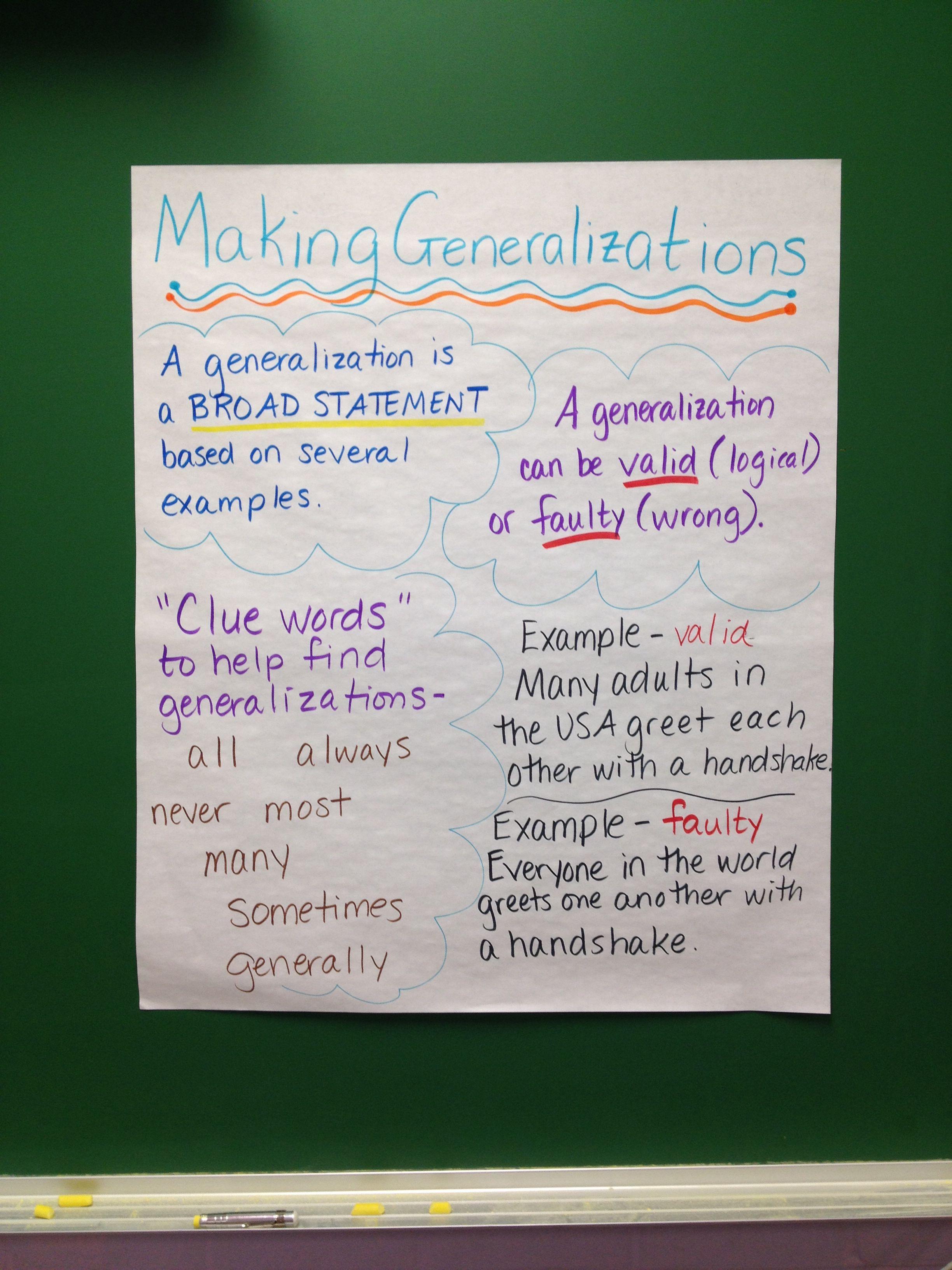 Worksheets Making Generalizations Worksheets making generalizations comprehension pinterest anchor charts readers workshop generalizations