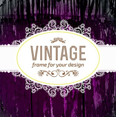 Retro lace with wooden background vector 01