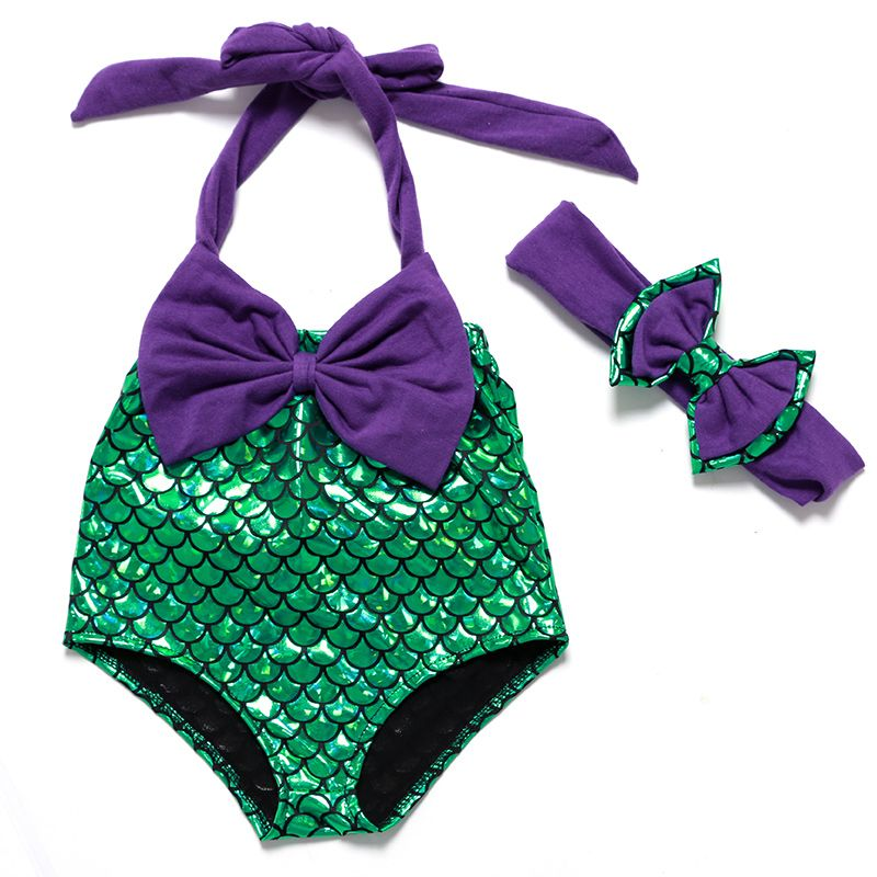 14fa67495a3 Wholesale Mermaid Swimsuit Baby Swimwear Purple Green Little Girls Swimsuits  Hot Sale Baby Rompers Mermaid Girl Summer Clothes