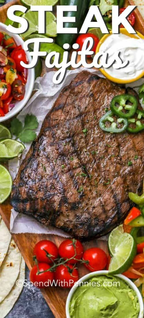 Grilled Steak Fajitas {{EASY}} - Spend With Pennies