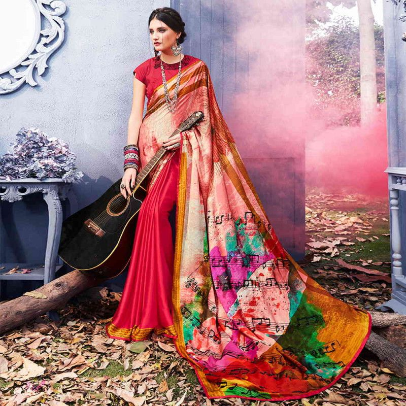 d7ca89d5bc82f4 Satin Silk Multicolour Party Wear Printed Saree #womensfashion #satin #silk  #sarees #womensclothing #printedsaree #multicolour #partywear #latest #sari  ...