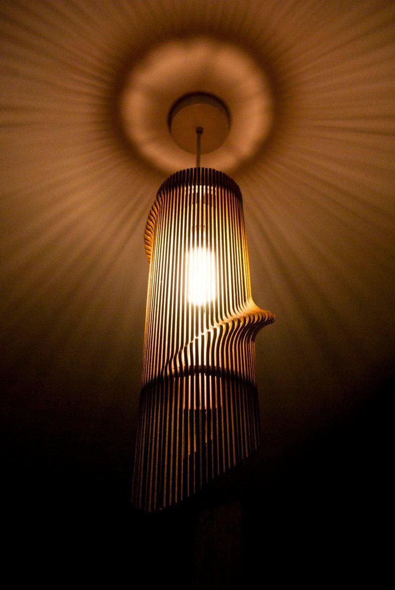 Twisted Wooden Lampshade This Cnc Files Dxf Cdr Svg Dxf Etsy In 2020 Wooden Lampshade Light Lamp