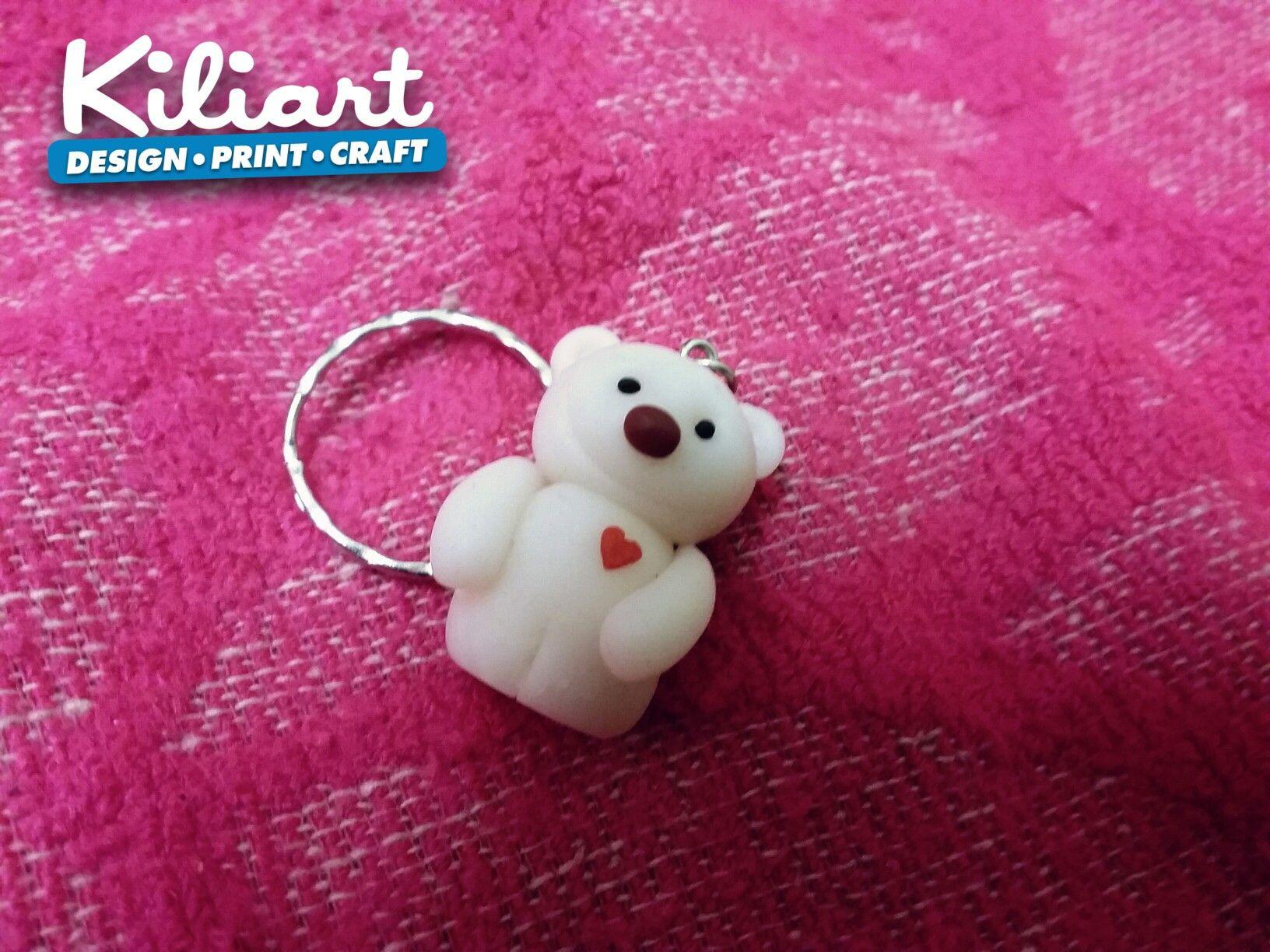 Handmade polymer clay teddy bear keychain..