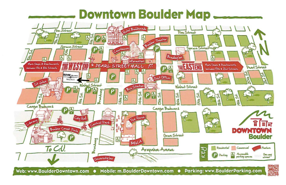 Map of Downtown Boulder our location on the Northeast corner of