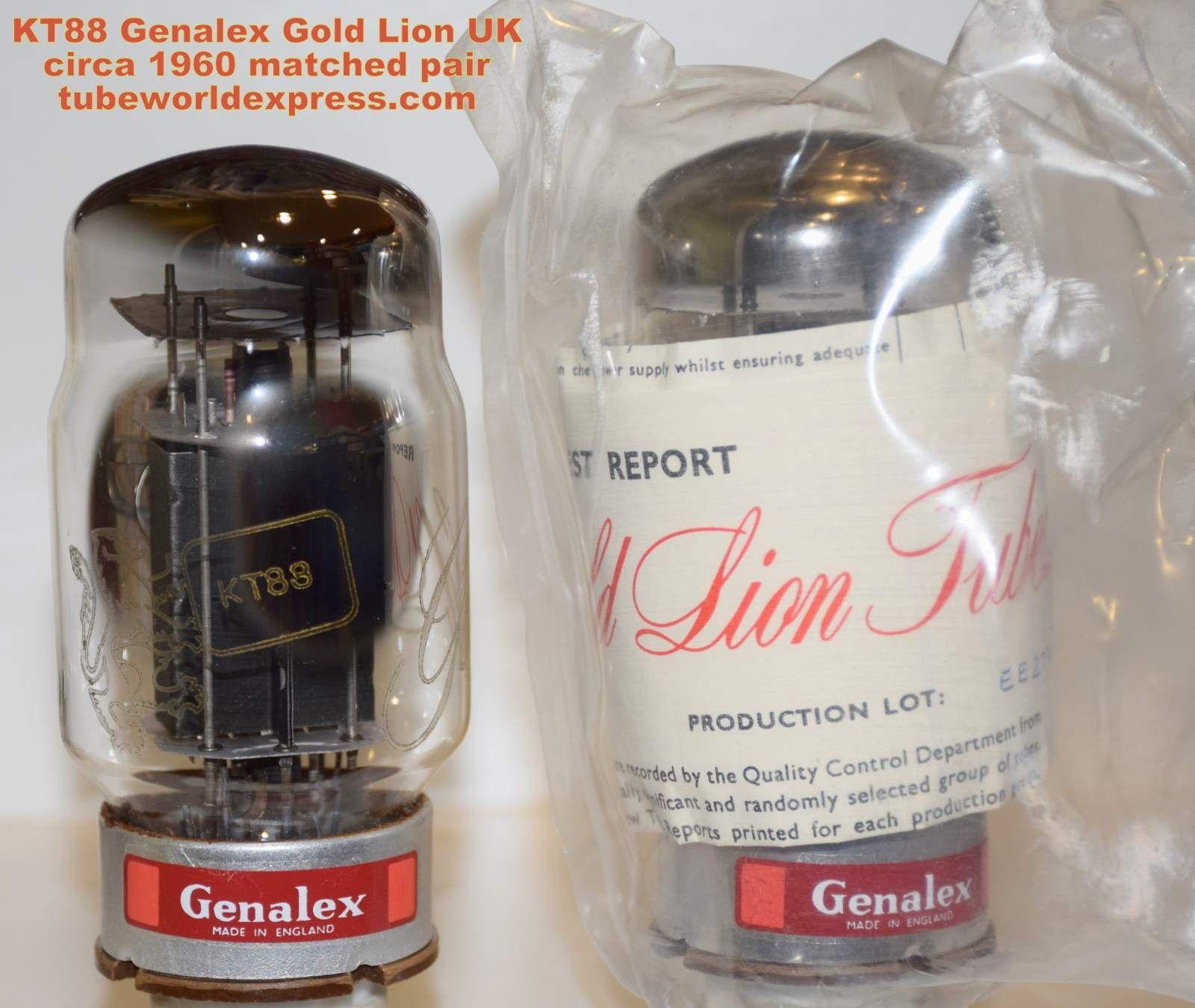 1 KT88 Gold Lion PAIR) KT88 Genalex Gold Lion England NOS ci