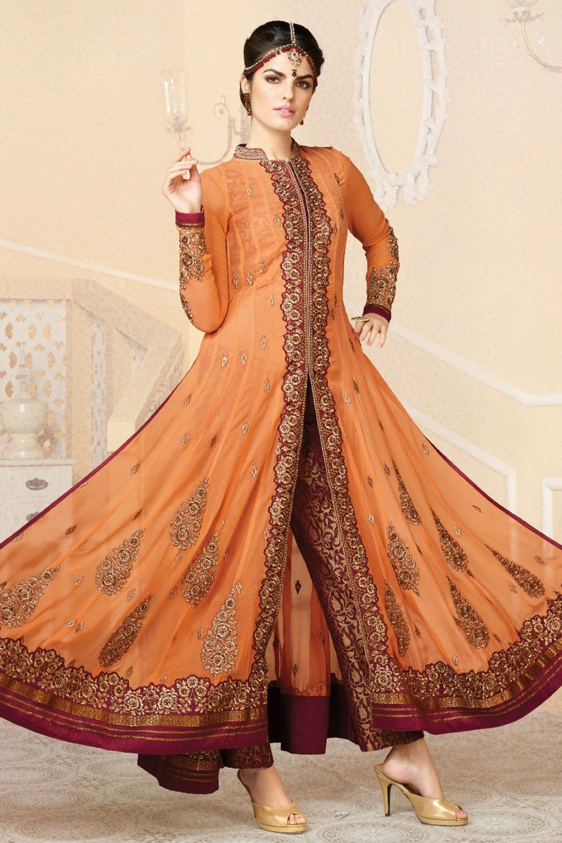 5a2d4b105ce Orange and Dark Red Faux Georgette Anarkali Suit Online  Shopping-Z3036PPRJ1449-81