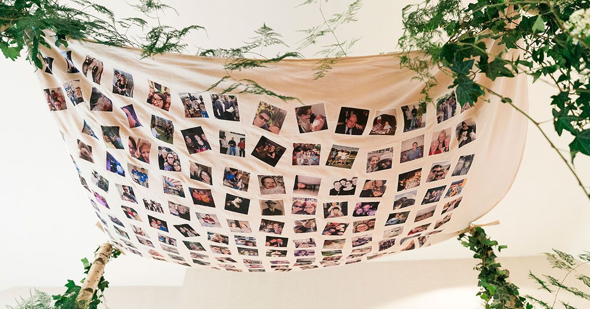 DIY personalised Chuppah with photos of loved ones by real bride Lauren | Smashing the Glass