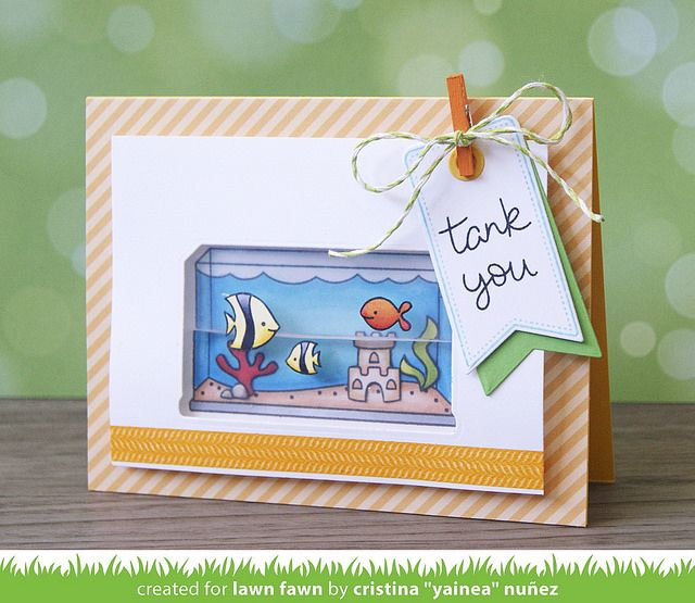 Lawn Fawn - Fintastic Friends, Let's Polka Mon Amie paper, Lime Lawn Trimmings Cord, Tag You're It, Thank You Tags _ card by Yainea for Lawn Fawn Design Team