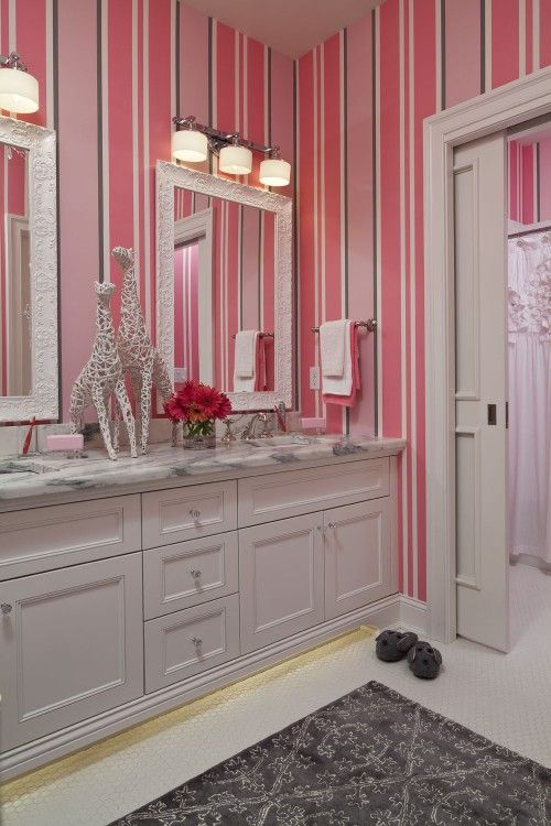 pretty girl's bathroom. pink stripes