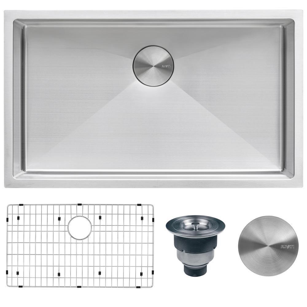 Ruvati Undermount Stainless Steel 32 In Single Bowl Kitchen Sink 16 Gauge Rvh7400 Sink Single Bowl Kitchen Sink Stainless Steel Kitchen