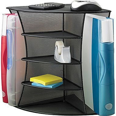 Safco Onyx Mesh Corner Organizer With Images Corner Desk Organization Desk Organization Safco