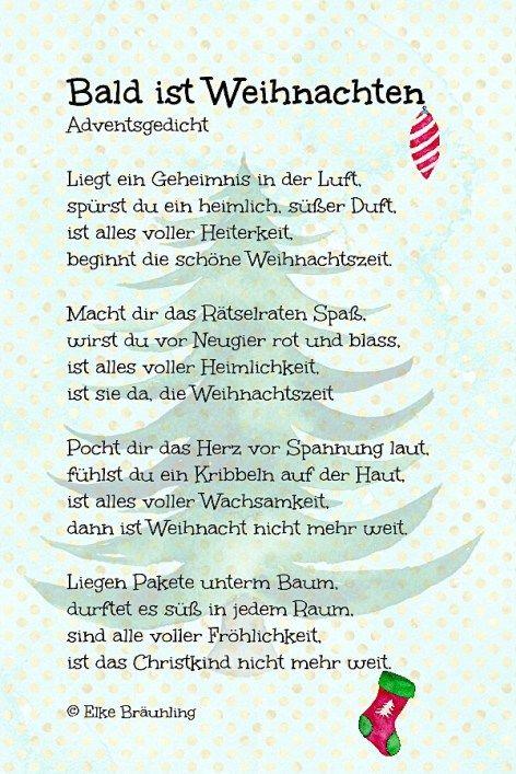 Bald Ist Weihnachten Weihnachtsgedicht Elkes Kindergeschichten Gedicht Weihnachten Gedichte Zum Advent Weihnachtsgedichte